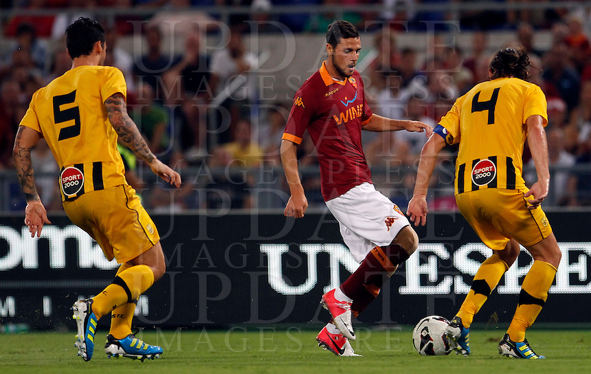 Calcio: partita amichevole Roma-Aris Salonicco. Roma, stadio Olimpico, 19 agosto 2012..AS Roma forward Mattia Destro in action during a football friendly match between AS Roma and Aris Thessaloniki, at Rome, Olympic stadium, 19 August 2012..UPDATE IMAGES PRESS/Isabella Bonotto
