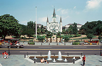 New Orleans:  Jackson Square (Place D'Armes) 1721.  Historic park in the French Quarter. Center, Saint Louis Cathedral. Statue in center is of Gen. Andrew Jackson. Cabildo and Presbytere Buildings are now museums.