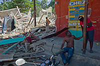 Petit Goave, Haiti, Jan 22 2010.Rue Republicaine, in the historical center of the town is almost totally destroyed.