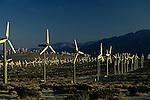 Windmill farm in the desert sunset light near Palm Springs California USA
