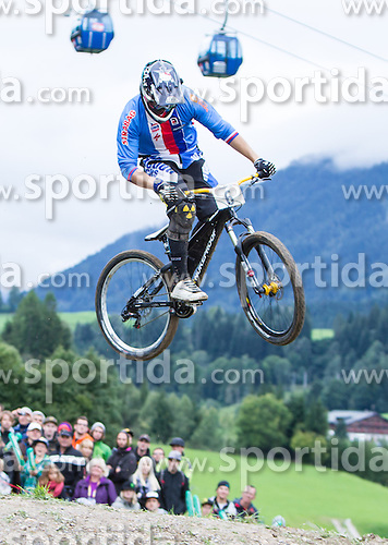 01.09.2012, Bikepark, Leogang, AUT, UCI, Mountainbike und Trial Weltmeisterschaften, MEN Elite, 4-Cross, im Bild zweiter Michael Mechura (CZE) // during UCI Mountainbike and Trial World Championships, MEN Elite, 4-Cross at the Bikepark, Leogang, Austria on .2012/09/01. EXPA Pictures © 2012, PhotoCredit: EXPA/ Juergen Feichter