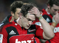 Crusaders' Matt Todd shows disappointment after losing to the Chiefs in the semi-final Super Rugby match, Waikato Stadium, Hamilton, New Zealand, Friday, July 27, 2012.  Credit:SNPA / David Rowland
