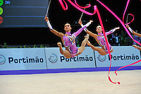 Senior rhythmic group from Italy performs at 2010 World Cup at Portimao, Portugal on March 13, 2010.  (L-R) Romina Laurito and Anzhelica Savrayuk.  (Photo by Tom Theobald)..