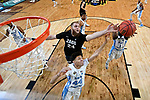 GLENDALE, AZ - APRIL 03: Theo Pinson #1 of the North Carolina Tar Heels reaches for a rebound over Przemek Karnowski #24 of the Gonzaga Bulldogs during the 2017 NCAA Men's Final Four National Championship game at University of Phoenix Stadium on April 3, 2017 in Glendale, Arizona.  (Photo by Chris Steppig/NCAA Photos via Getty Images)