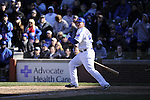 CHICAGO - APRIL  11:  Steve Clevenger #51 of the Chicago Cubs bats against the Milwaukee Brewers on April 11, 2012 at Wrigley Field in Chicago, Illinois.  The Brewers defeated the Cubs 2-1.  (Photo by Ron Vesely)   Subject:  Steve Clevenger