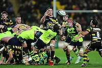 Louis Picamoles of Northampton Saints offloads the ball. European Rugby Champions Cup match, between Northampton Saints and Leinster Rugby on December 9, 2016 at Franklin's Gardens in Northampton, England. Photo by: Patrick Khachfe / JMP