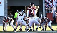 Nov 27, 2010; Charlottesville, VA, USA;  Virginia Tech Hokies quarterback Logan Thomas (3) during the game against the Virginia Cavaliers at Lane Stadium. Virginia Tech won 37-7. Mandatory Credit: Andrew Shurtleff-