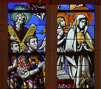 Philippe le Bon or Philip the Good, 1396-1467, and his son Charles le Temeraire or Charles the Bold, detail from the stained glass window, 15th century, in the Chapel, in the Salle des Povres or Room of the Poor, in Les Hospices de Beaune, or Hotel-Dieu de Beaune, a charitable almshouse and hospital for the poor, built 1443-57 by Flemish architect Jacques Wiscrer, and founded by Nicolas Rolin, chancellor of Burgundy, and his wife Guigone de Salins, in Beaune, Cote d'Or, Burgundy, France. The hospital was run by the nuns of the order of Les Soeurs Hospitalieres de Beaune, and remained a hospital until the 1970s. The building now houses the Musee de l'Histoire de la Medecine, or Museum of the History of Medicine, and is listed as a historic monument. Picture by Manuel Cohen
