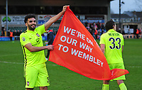 York City's Hamza Bencherif celebrates the victory<br /> <br /> Photographer Andrew Vaughan/CameraSport<br /> <br /> Buildbase FA Trophy Semi Final Second Leg - Lincoln City v York City - Saturday 18th March 2017 - Sincil Bank - Lincoln<br />  <br /> World Copyright &copy; 2017 CameraSport. All rights reserved. 43 Linden Ave. Countesthorpe. Leicester. England. LE8 5PG - Tel: +44 (0) 116 277 4147 - admin@camerasport.com - www.camerasport.com