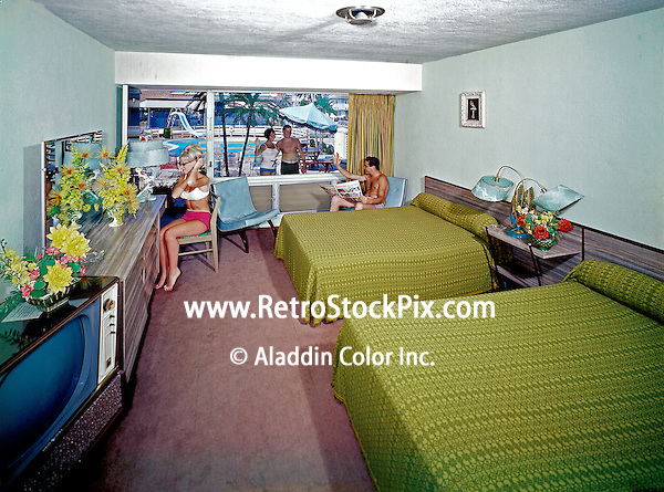 Eden Roc Motel in Wildwood, New Jersey. 1960's photograph of a family in their motel room.
