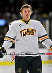 22 November 2011: University of Vermont Catamount defenseman Blake Doerring, a Freshman from Chanhassen, MN, awaits the start of play prior to a game against the University of Massachusetts Minutemen at Gutterson Fieldhouse in Burlington, Vermont. The Catamounts defeated the Minutemen 2-1 in their annual pre-Thanksgiving meeting of the Hockey East season. Mandatory Credit: Ed Wolfstein Photo