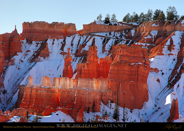 Hoodoos and Fins in Winter, Queen's Garden Trail, Bryce Canyon National Park, Utah