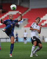 Sandie Toletti of France battles with Manjou Wilde of Germany during the UEFA Womens U19 Semi-Final at Parc y Scarlets Wednesday 28th August 2013. All images are the copyright of Jeff Thomas Photography-www.jaypics.photoshelter.com-07837 386244-Any use of images must be authorised by the copyright owner.