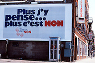 Quebec, Canada, 1980. On May 20 1980, called by the Parti Quebequois (PQ) government, the first referendum on whether Quebec should pursue a path toward sovereignty took place. The OUI (yes) party was defeated by a 59.56 percent to 40.44 percent margin for the NO party. - Signs from the campaign for the NO party.
