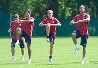 USA's , left to right, Pablo Mastroeni, Eddie Lewis, and Oguchi Onyewu during practice in Hamburg, Germany, for the 2006 World Cup, June, 9, 2006.