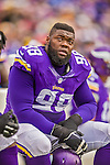 19 October 2014: Minnesota Vikings defensive tackle Linval Joseph glances up at the scoreboard in the first quarter against the Buffalo Bills at Ralph Wilson Stadium in Orchard Park, NY. The Bills defeated the Vikings 17-16 in a dramatic, last minute, comeback touchdown drive. Mandatory Credit: Ed Wolfstein Photo *** RAW (NEF) Image File Available ***