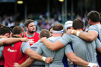 Elliott Stooke of Bath Rugby looks on in a pre-match huddle. Aviva Premiership match, between Bath Rugby and Worcester Warriors on September 17, 2016 at the Recreation Ground in Bath, England. Photo by: Patrick Khachfe / Onside Images