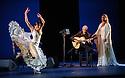 London, UK. 28.02.2016. Sadler's Wells presents Esperanza Fernandez in DE LO JONDO Y VERDADERO, as part of the Flamenco Festival London 2016. Picture shows: Ana Morales, Miguel Angel Cortes, Esperanza Fernandez. Photograph © Jane Hobson.