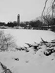 Frozen Lake Downtown Naperville's Riverwalk Park sits silently under a blanket of snow in the depths of winter