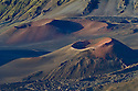 Pu'u o Pele and Pu'u of Maui cinder cones in Haleakala Crater; Haleakala National Park, Maui, Hawaii.