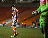 Blackpool's Will Aimson reacts after missing a penalty which put his side out of the competition <br /> <br /> Photographer Alex Dodd/CameraSport<br /> <br /> Checkatrade Trophy Round 3 Blackpool v Wycombe Wanderers - Tuesday 10th January 2017 - Bloomfield Road - Blackpool<br />  <br /> World Copyright &copy; 2017 CameraSport. All rights reserved. 43 Linden Ave. Countesthorpe. Leicester. England. LE8 5PG - Tel: +44 (0) 116 277 4147 - admin@camerasport.com - www.camerasport.com