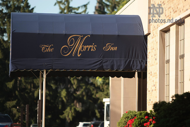 Awning over the front entrance of the Morris Inn