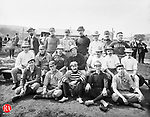 "The group in this 08 September 1900 photograph is identified as ""Drs. Baseball Team."" Those in the photograph are, seated in the front row from left to right: Dr. C.A. Monaghan, Dr. T O'Rourke, Dr. J.D. Freney, Fran Guilfoile, and Harry Minor. In the second row from left to right are: T.F. Carmondy, Judge McGrarer, Charles W. Bauby, Harry Durant, L. Heminway and Dr. N.A. Pomeroy. In the third row from left to right are: Dr. McLinden, Edward Byrnes, Dr. T.J. Kilmartin, Dr. John Poor, Judge Charles A. Meggs, Dr. P.J. Dwyer, and John Holihan."