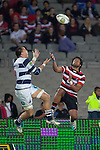 Ahsee Tuala and Chris Lowery go to the air to compete for the high ball. ITM Cup Round 7 rugby game between Auckland and Counties Manukau, played at Eden Park, Auckland on Thursday August 11th..Auckland won 25 - 22.