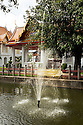 TH00414-00...THAILAND - Fountain in the Prem Prachakon Canal at Bangkok's Wat Benchamabophit Dusitvanaram Ratchaworawiharn, known as the Marble Temple.