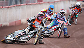 Heat 3: Nick Laurence (yellow), Mark Baldock (red), Adam Sheppard (blue) and Joe Graver (white) - Lakeside Young Hammers vs Mildenhall Fen Tiger Cubs, Anglian Junior League Speedway at the Arena Essex Raceway, Pufleet - 04/05/12 - MANDATORY CREDIT: Rob Newell/TGSPHOTO - Self billing applies where appropriate - 0845 094 6026 - contact@tgsphoto.co.uk - NO UNPAID USE..