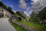 View of empty road the Hahntennjoch pass. Imst district, Tyrol, Tirol, Austria.