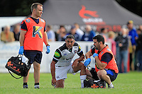 Dan Bowden of Bath Rugby is treated for an injury. Pre-season friendly match, between Yorkshire Carnegie and Bath Rugby on August 13, 2016 at Ilkley RFC in Ilkley, England. Photo by: Ian Smith / Onside Images