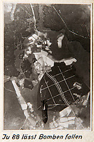 BNPS.co.uk (01202 558833)<br /> Pic: Dickins/BNPS<br /> <br /> Operation Barbarossa - Last bomb falling from a Ju 88 bomber.<br /> <br /> The unseen personal photo album of Field Marshal Wolfram von Richthofen, cousin to the legendary Red Baron, which gives an unprecedented insight into his military career in the Third Reich, has been rediscovered.<br /> <br /> Wolfram served in the Red Baron's squadron in the WW1, went on to design the 'Jericho trumpet' of the infamous Stuka Bomber between the wars, before leading the Condor Legion in the Spanish Civil War.<br /> <br /> After the outbreak of WW2 the fascinating album shows Richthofen's lead roll in Operation Barbarossa - the Nazi's suprise invasion of Communist Russia and their race to conquer the vast country before the onset of the notorious Russian winter.<br /> <br /> The two albums were taken from Berlin by a British soldier at the end of the Second World War who kept it for 60 years before it was passed into the hands of a private collector.<br /> <br /> Dickins auctions are selling the historic albums with a &pound;20,000 estimate on 31st March.