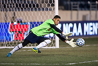 Zack Steffen (99) of Maryland goes for the ball during the NCAA Men's College Cup semifinals at PPL Park in Chester, PA.  Maryland defeated Virginia, 2-1.