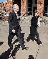 CHARLOTTESVILLE, VA - FEBRUARY 15: Defense attorneys Francis McQ. Lawrence, left, and Rhonda Quagliana, right, walk outside the Charlottesville Circuit courthouse for the George Huguely trial. Huguely was charged in the May 2010 death of his girlfriend Yeardley Love. She was a member of the Virginia women's lacrosse team. Huguely pleaded not guilty to first-degree murder. (Credit Image: © Andrew Shurtleff