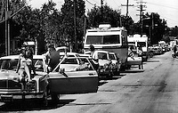 Motorists line up for gas during the gasoline shortage <br /> Aug 1982..in California (photo/Ron Riesterer