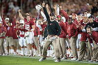 STANFORD, CA - November 6, 2010: Jim Harbaugh celebrates after a 4th down goal line defensive stand during a 42-17 Stanford win over the University of Arizona, in Stanford, California.