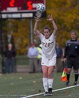 Boston College midfielder Zoe Lombard (20) throw in. Boston College defeated Marist College, 6-1, in NCAA tournament play at Newton Campus Field, November 13, 2011.