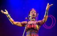 MALMESBURY, UK - JULY 24: Dobet Gnahoré performs on stage at WOMAD on July 24th, 2010 in Malmesbury, United Kingdom. (Photo by Philip Ryalls/Redferns)**Dobet Gnahoré