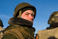 Kamenka, Karelia, Russia, 14/12/2007..Professional Russian soldiers during Snezhinka [Snowflake] 2007, a joint live fire training exercise for Russian and Swedish motorised infantry in which they play the roles of a combined peace-keeping force enforcing a demilitarised zone in a warring region.