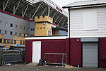 West Ham United 2 Crystal Palace 2, 02/04/2016. Boleyn Ground, Premier League. Outbuildings in from of the facade to the Betway Stand at the Boleyn Ground, pictured after West Ham United hosted Crystal Palace in a Barclays Premier League match. The Boleyn Ground at Upton Park was the club's home ground from 1904 until the end of the 2015-16 season when they moved into the Olympic Stadium, built for the 2012 London games, at nearby Stratford. The match ended in a 2-2 draw, watched by a near-capacity crowd of 34,857. Photo by Colin McPherson.