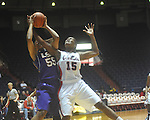 "Ole Miss'  Pa'Sonna Hope (15) vs. LSU's LaSondra Barrett (55) in women's college basketball action at the C.M. ""Tad"" Smith Coliseum in Oxford, Miss. on Sunday, February 6, 2011. LSU won 76-38."