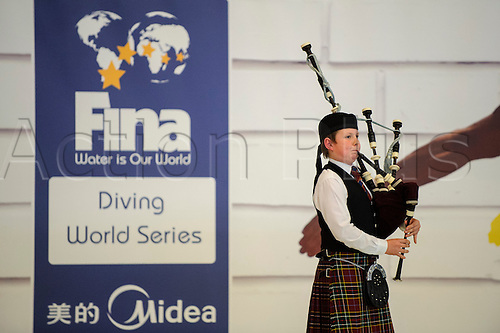 19.04.2013 Edinburgh, Scotland. A Scottish Piper plays during an Opening Ceremony on Day 1 of the FINA/Midea Diving World Series 2013 at the Royal Commonwealth Pool in Edinburgh.