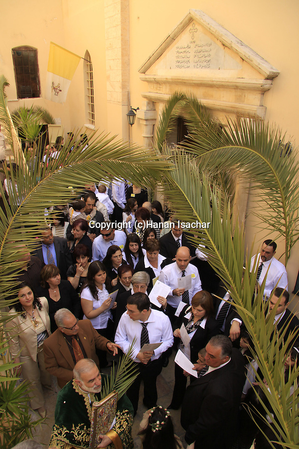 Israel, Nazareth, Abouna Emile Shoufani at the Greek Catholic Church on Palm Sunday