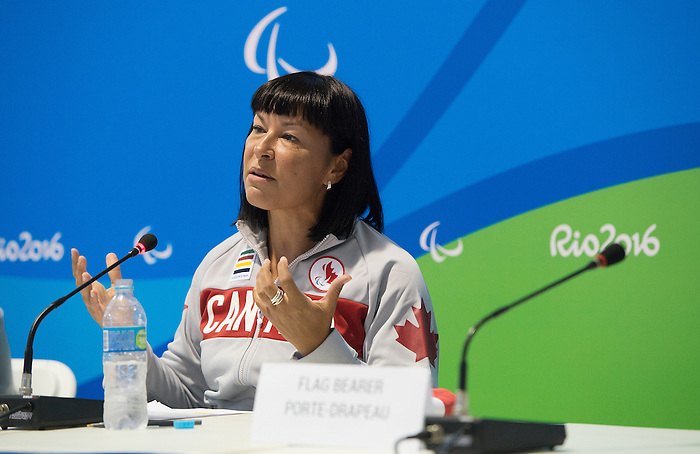 RIO DE JANEIRO - 6/9/2016:  Chantal Petitclerc introduces David Eng of Wheelchair Basketball as the opening ceremonies flag bearer at the Paralympic Village at the Rio 2016 Paralympic Games. (Photo by Matthew Murnaghan/Canadian Paralympic Committee