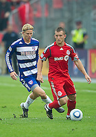 July 24, 2010 Toronto FC forward Chad Barrett #19 and FC Dallas defender/midfielder Brek Shea #20 in action during a game between FC Dallas and Toronto FC at BMO Field in Toronto..Final score was 1-1.