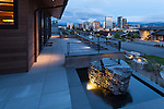 Lights of the Bellevue skyline from the porch of this contemporary home