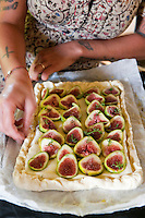 The final touches are being put on the fig, ricotta, honey and almond tart before it goes in the oven