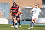 16 November 2013: North Carolina's Kealia Ohai (7) and Liberty's Dawn Elmers (CAN) (23). The University of North Carolina Tar Heels hosted the Liberty University Flames at Fetzer Field in Chapel Hill, NC in a 2013 NCAA Division I Women's Soccer Tournament First Round match. North Carolina won the game 4-0.