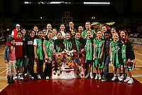 25 February 2007: Contest winners of the sign contest pose with Jennifer Azzi during Stanford's 56-53 win over USC at Maples Pavilion in Stanford, CA.